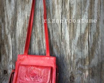 Vintage Tooled Red Leather Purse Handbag