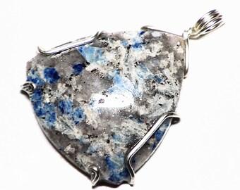 Lazulite in Quartz Graves Mtn Georgia Pendant in Sterling Silver