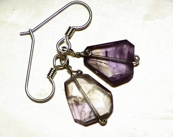 Faceted Ametrine (11 ct) Earrings in Sterling