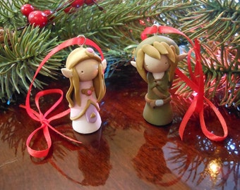Link and Zelda Ornament Pair