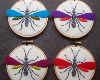 On Sale Wasp. hand embroidered. hoop art. steampunk. pure wool felt. housewarming gift. nature lover's gift. 4 inch hoop. hand embroidery by