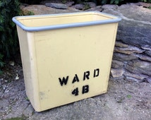 Vintage mid century steelcase trash can container, waste basket from ward 4b