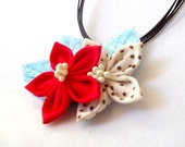 Tsumami Kanzashi Flower Pendant Statement Necklace Fabric Origami Gift for Her