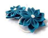 Dark Turquoise Kanzashi Flower Bobby Pins Something Blue Gift for Her