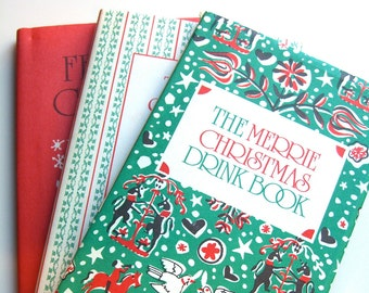 Vintage Christmas Books, Peter Pauper Boxed Set, Drink Cocktails Book Cookie Recipes Manners