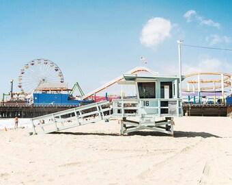 "Santa Monica Pier, California, Los Angeles, Lifeguard Stand,  Beach Decor, California Wall Art, Santa Monica Beach ""Sunny Santa Monica"""