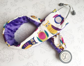Padded Stethoscope Cover - Nurse, Doctor, Nursing Student, Medical Assistant, Veterinarian, RN, CMA -  Gift for Nurse - Owls with Purple
