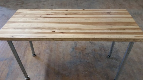 Reclaimed Barnwood Table with Steel Legs Hickory Wood Dining Table