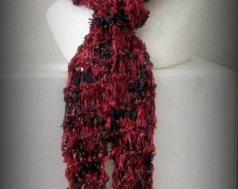 scarf - knit scarf - hand knit scarf - hand made scarf - red knit scarf - black knit scarf - red knit ribbon scarf - black knit ribbon scarf