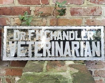Antique Foiled Glass Veterinarian Trade Sign