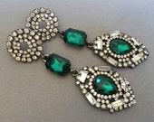 Long Green Earrings Long Rhinestone Earrings in Emerald Green Art Deco style gunmetal finish Great Gatsby Wedding formal