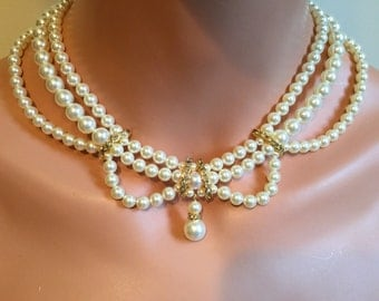 Victorian Pearl Necklace Earrings Set - Vintage style 3 multi strands Swarovski pearls in Ivory or White and Gold or Silver wedding jewelry