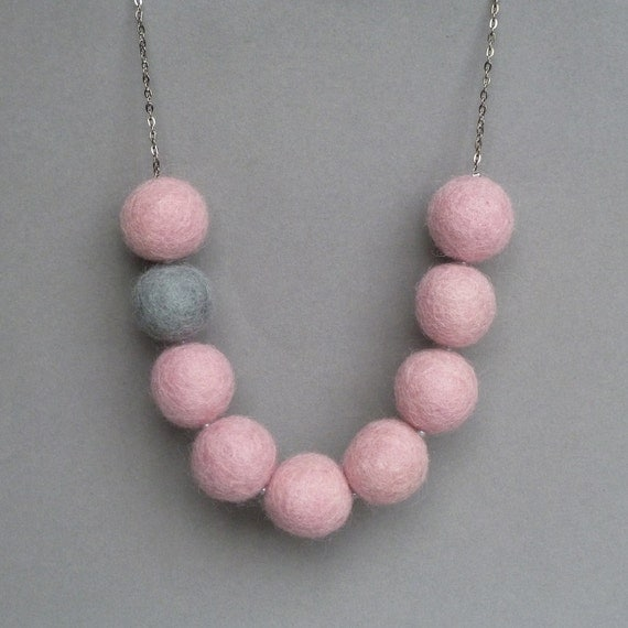 Pale Pink Statement Necklace - Candyfloss Pink Felt Necklace with Felted Gray Accent Bead - Chunky Felt Ball Jewelry