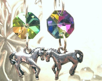 Horse Earrings Iridescent Dangle Country Girls Western Girl Jewelry Cowgirl Gifts Teen Equestrian Trending Jewelry Sale Jewelry