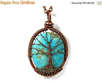 25% OFF Vacation Sale Spindly Roots and Branches Turquoise Tree of Life Necklace in Antique Copper.