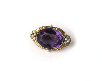 Gorgeous Art Nouveau 14k Gold Amethyst Seed Pearl Brooch c1910