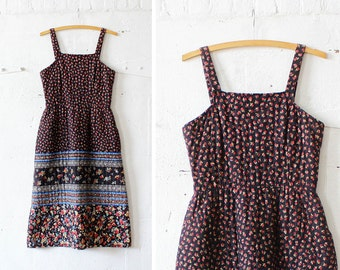 70s Lanz Quilted Dress S/M • Calico Midi Dress with Pockets • Dark Floral Cotton Dress | D624