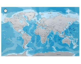 Scratch Off World Map - Ocean Blue Worldmap