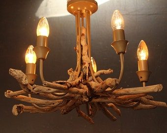 Driftwood chandelier, Driftwood Pendant, Driftwood light Fitting, Five light pendant, Five light chandelieir, Drift Wood Lighting UK