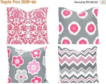 SALE Throw Pillow Covers - Decorative Pillow - Pink Pillow Covers - Gray Pillow Covers - Polka Dot Pillow - Chevron Pillow Cover - Pink Chev