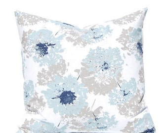 SALE Throw Pillow Covers - Blue and Tan - Floral Pillow Covers for Sofa - Decorative Pillow Covers - Blue Pillow Covers - Navy Pillow Covers