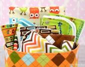 9pc Baby Gift Set Basket ~ Chevron, Remix, Bermuda, Urban Zoologie, Orange Green Brown, Bib, Burp Cloth, Wash Cloth, Blanket, Basket, Keyfob