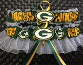NFL Green Bay Packers white organza Wedding Garter set, customize size & color.