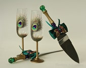 Cake Server Set and Peacock Champagne Glasses, Vintage Wedding Glasses, Champagne Glasses, Set of 2 Hand Painted