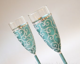 Teal Wedding Glasses, Champagne Flutes, Hand Painted,, Set of 2