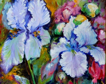 Iris, Rhododendron and Peony Field 120x40 cm - Large Modern Ready to Hang Painting - Original Oil Painting, Wall Decoration