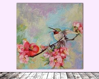 Hummingbird in Cherry Tree Blossom - FREE SHIPPING - Modern Ready to Hang Painting - Original Oil Painting, Wall Decoration