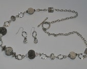 Gray & Silver beaded necklace set