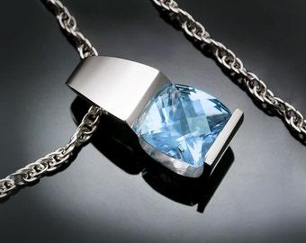 blue topaz necklace, silver pendant, sky blue topaz, Argentium silver necklace, wedding necklace, December birthstone - 3431