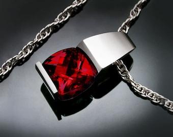 January birthstone - garnet necklace - Mozambique garnet - red - eco-friendly - Argentium silver - modern jewelry - 3431