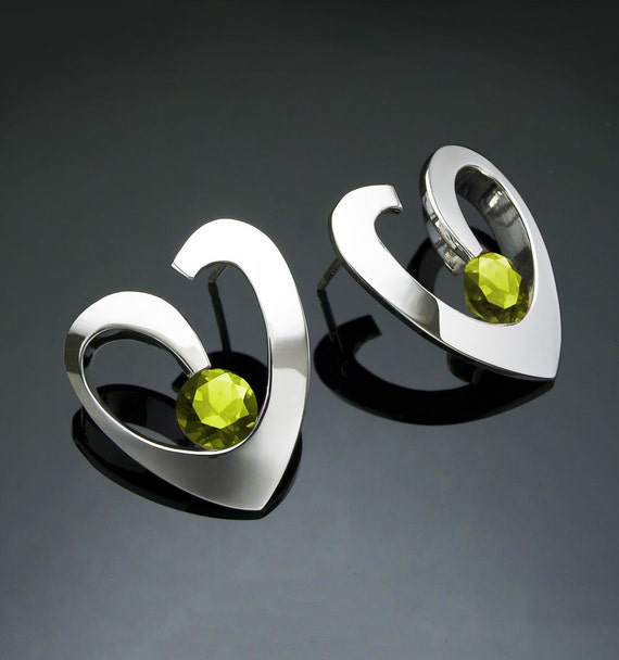 peridot earrings, heart earrings, Argentium silver, August birthstone, birthday gift, green gemstone, artisan jewelry, gifts for her  - 2401