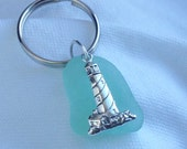 Lighthouse and Sea Glass Keychain. Aqua Seafoam Sea glass Light House Keychain