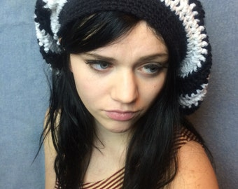 Black and White Baggy Beanie