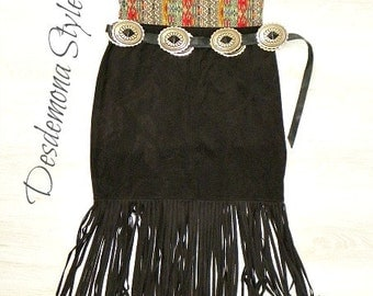Black faux suede FRINGE TASSEL mini skirt boho gypsy soft western latin dance jersey stretch body con bottom hem hippy hippie