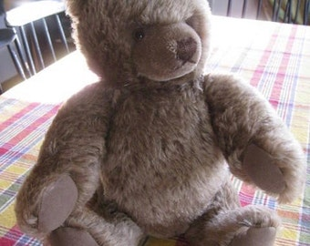 """Vintage STEIFF Teddy  Bear 15""""  EXC Great Face with button in ear 1980 Masked Heart Shaped Face Germany German"""