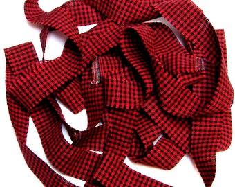 1 yard Homespun Cotton Fabric Ribbon Red Black Check