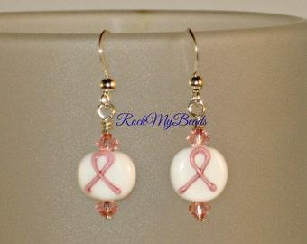 Pink Cancer Ribbon Earrings,Earrings,Jewelry,Cancer Ribbon Earrings,Gift for Her,Dangle Earrings,Cancer Earrings,Support Cancer Earrings
