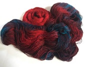 Yarn Set. Asrai Tussah Silk Lace. Persephone Goes To The Underworld/Red Glow