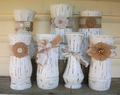 7 Rustic Chic Distressed White Vases with Lace, Floral & Burlap Adornments