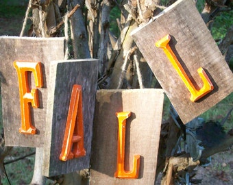 Fall Decor Distressed Orange Sign on Barnwood Plaques w/ Jute Hangers
