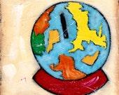 Acrylic painting of Globe Bank 6x6 original on canvas