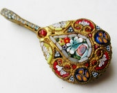 RESERVED - Vintage 50s Italian Murano Venetian Micro Mosaic Art Glass Figural Guitar Lute Brooch Pin