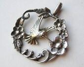Vintage Sterling Silver Hummingbird Necklace Pendant