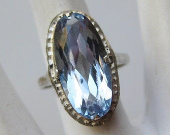 Vintage Ring 40s Jeweled Blue 800 German Silver Cocktail Ring size 6 3/4