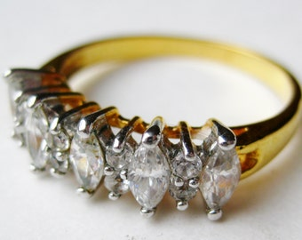 Vintage Gold Plate Faux Diamond CZ Band Ring size 11