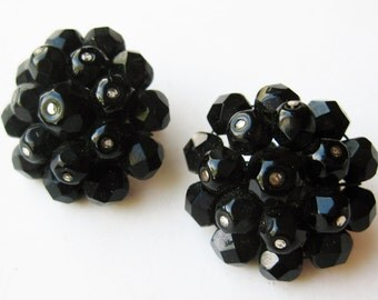 Vintage 50s Laguna Jet Black Glass Bead Silver Clip Earrings